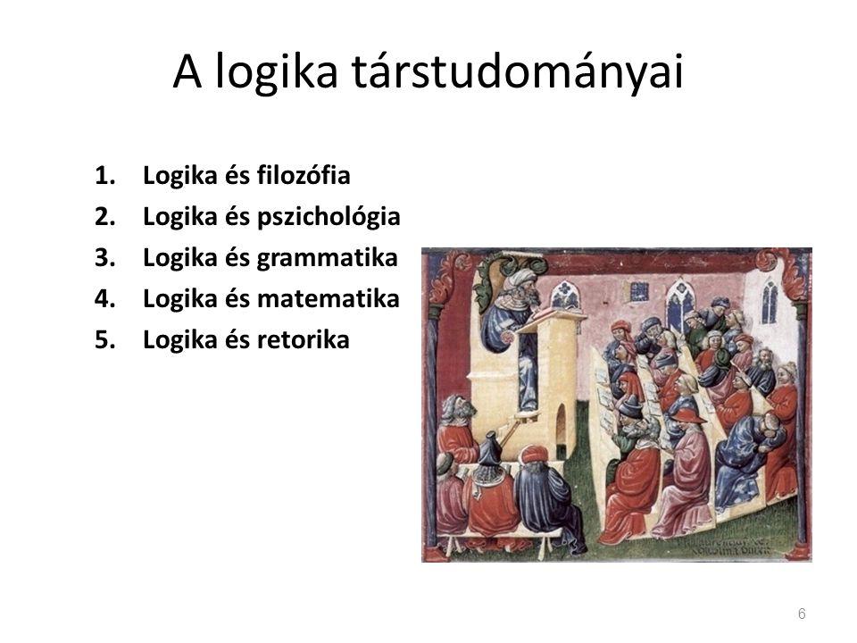 A logika társtudományai 1.Logika és filozófia 2.Logika és pszichológia 3.Logika és grammatika 4.Logika és matematika 5.Logika és retorika 6