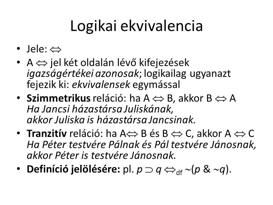 Logikai ekvivalencia • Jele:  • A  jel két oldalán lévő kifejezések igazságértékei azonosak; logikailag ugyanazt fejezik ki: ekvivalensek egymással