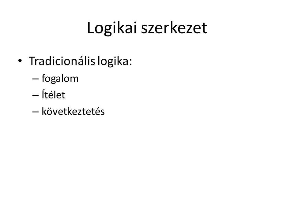 Logikai szerkezet • Tradicionális logika: – fogalom – Ítélet – következtetés