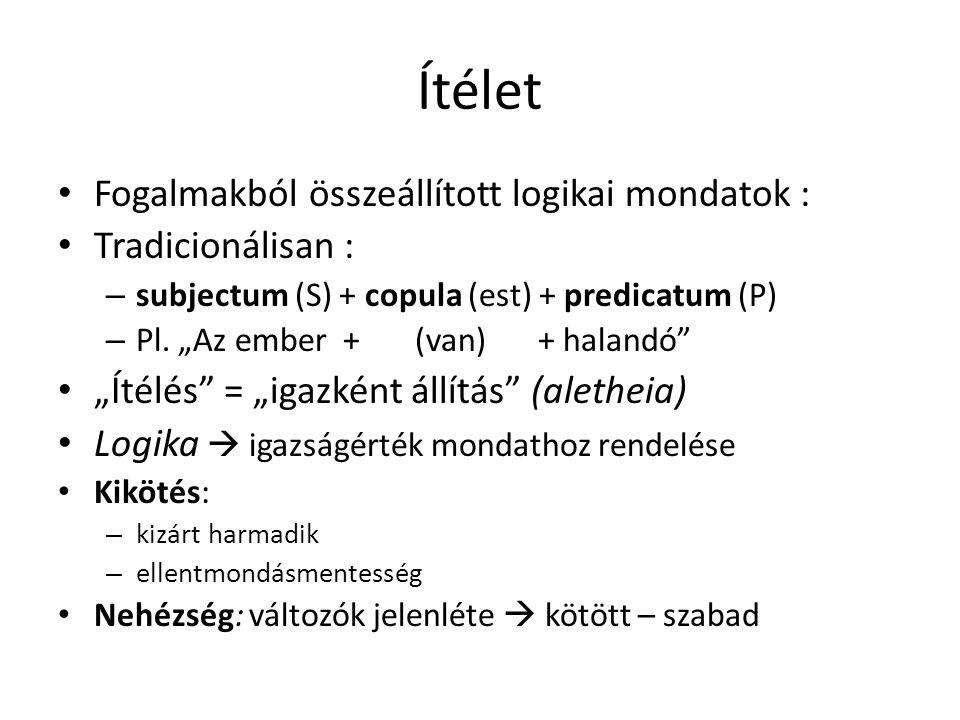 """Ítélet • Fogalmakból összeállított logikai mondatok : • Tradicionálisan : – subjectum (S) + copula (est) + predicatum (P) – Pl. """"Az ember + (van) + ha"""