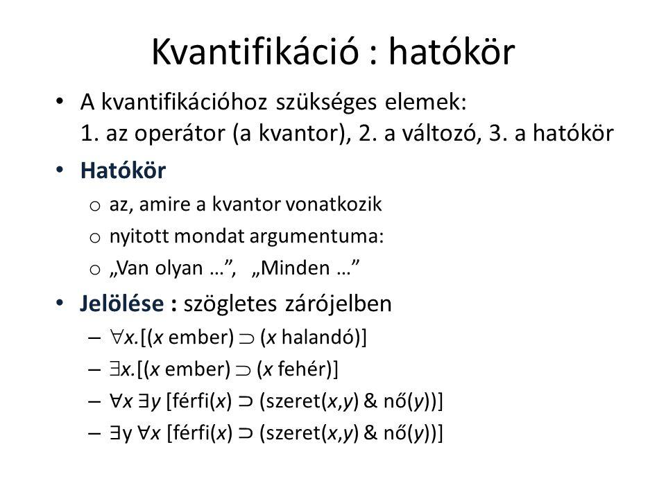 Kvantifikáció : hatókör • A kvantifikációhoz szükséges elemek: 1. az operátor (a kvantor), 2. a változó, 3. a hatókör • Hatókör o az, amire a kvantor
