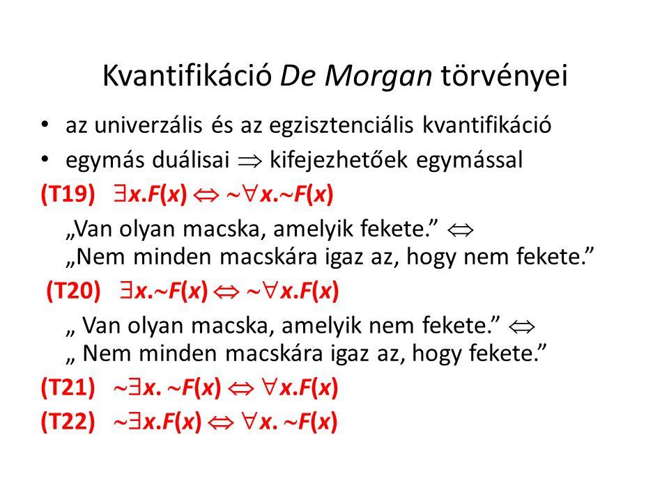 Kvantifikáció De Morgan törvényei • az univerzális és az egzisztenciális kvantifikáció • egymás duálisai  kifejezhetőek egymással (T19)  x.F(x)  