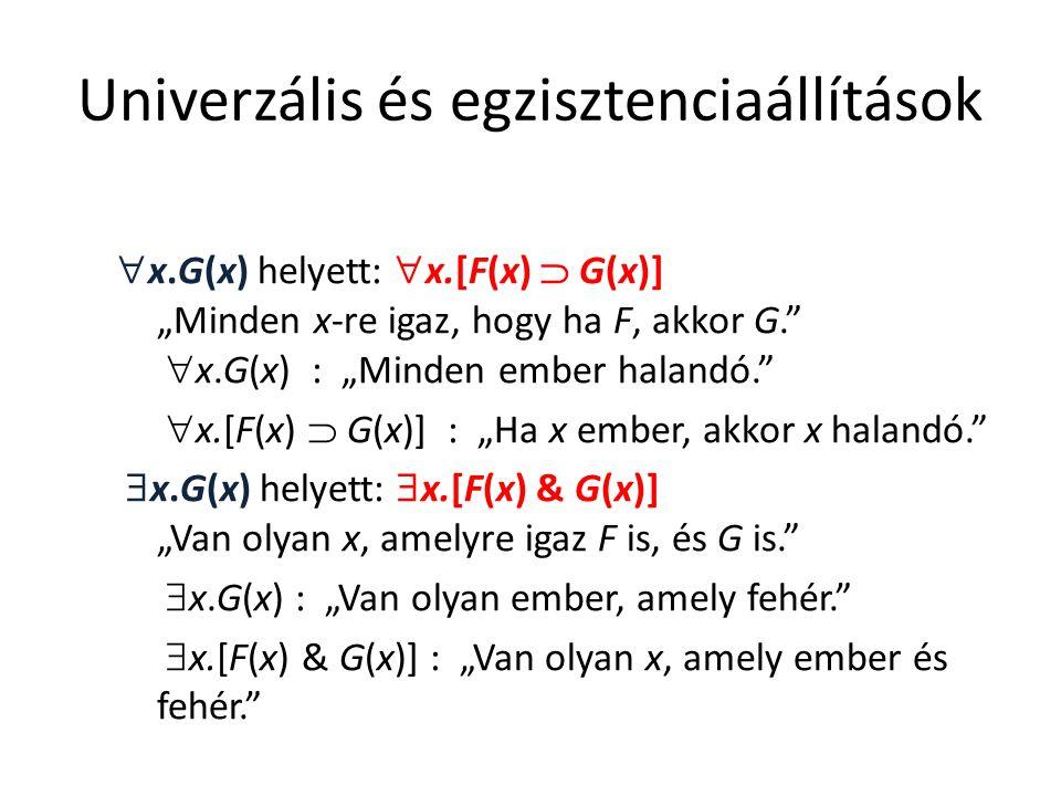 """Univerzális és egzisztenciaállítások  x.G(x) helyett:  x.[F(x)  G(x)] """"Minden x-re igaz, hogy ha F, akkor G.""""  x.G(x) : """"Minden ember halandó."""" """