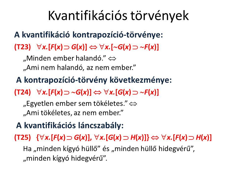 """Kvantifikációs törvények A kvantifikáció kontrapozíció-törvénye: (T23)  x.[F(x)  G(x)]   x.[  G(x)   F(x)] """"Minden ember halandó.""""  """"Ami nem h"""
