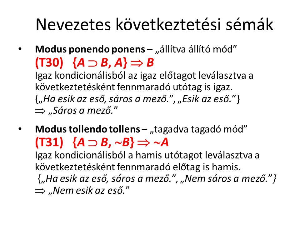 """Nevezetes következtetési sémák • Modus ponendo ponens – """"állítva állító mód"""" (T30) {A  B, A}  B Igaz kondicionálisból az igaz előtagot leválasztva a"""