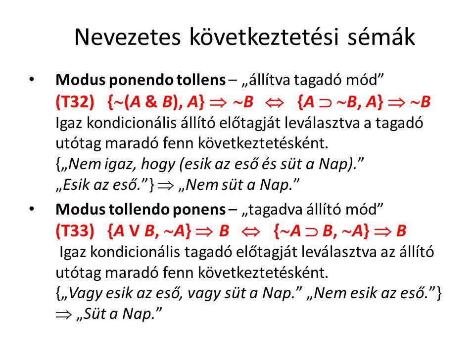 """Nevezetes következtetési sémák • Modus ponendo tollens – """"állítva tagadó mód"""" (T32) {  (A & B), A}  B  {A   B, A}   B Igaz kondicionális állí"""