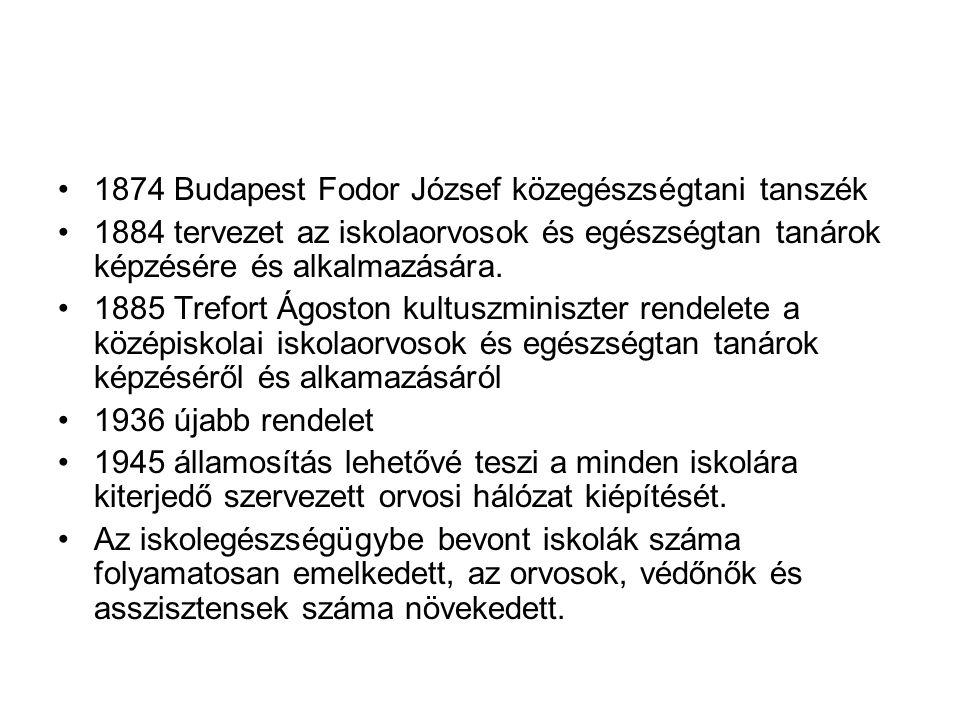 •1874 Budapest Fodor József közegészségtani tanszék •1884 tervezet az iskolaorvosok és egészségtan tanárok képzésére és alkalmazására. •1885 Trefort Á