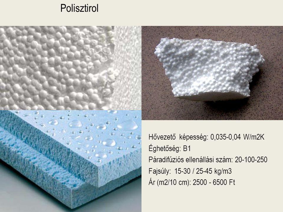 Polisztirol Hővezető képesség: 0,035-0,04 W/m2K Éghetőség: B1 Páradifúziós ellenállási szám: 20-100-250 Fajsúly: 15-30 / 25-45 kg/m3 Ár (m2/10 cm): 25