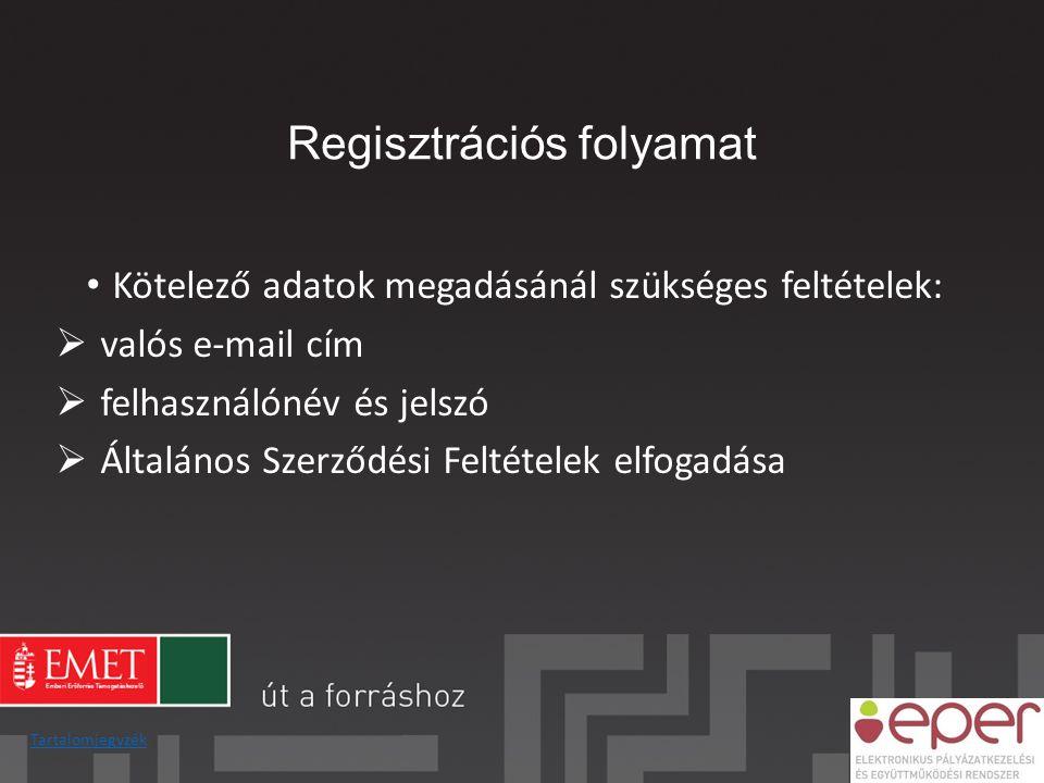 Regisztrációs folyamat Tartalomjegyzék