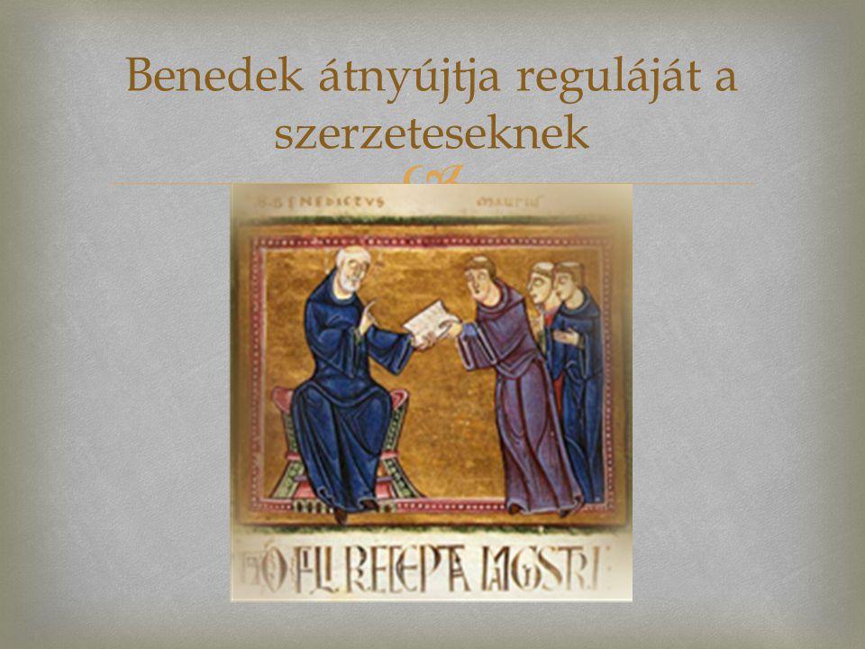  Benedek átnyújtja reguláját a szerzeteseknek