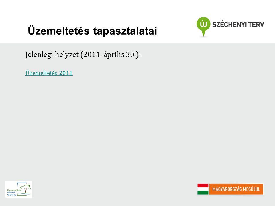 Üzemeltetés tapasztalatai Jelenlegi helyzet (2011. április 30.): Üzemeltetés 2011