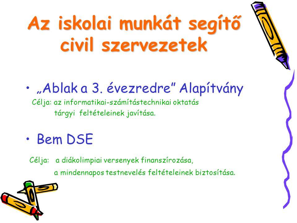 """Az iskolai munkát segítő civil szervezetek •""""Ablak a 3."""