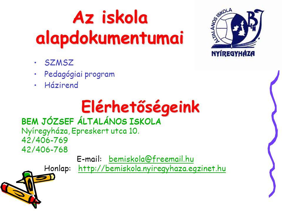 Az iskola alapdokumentumai BEM JÓZSEF ÁLTALÁNOS ISKOLA Nyíregyháza, Epreskert utca 10. 42/406-769 42/406-768 E-mail: bemiskola@freemail.hubemiskola@fr