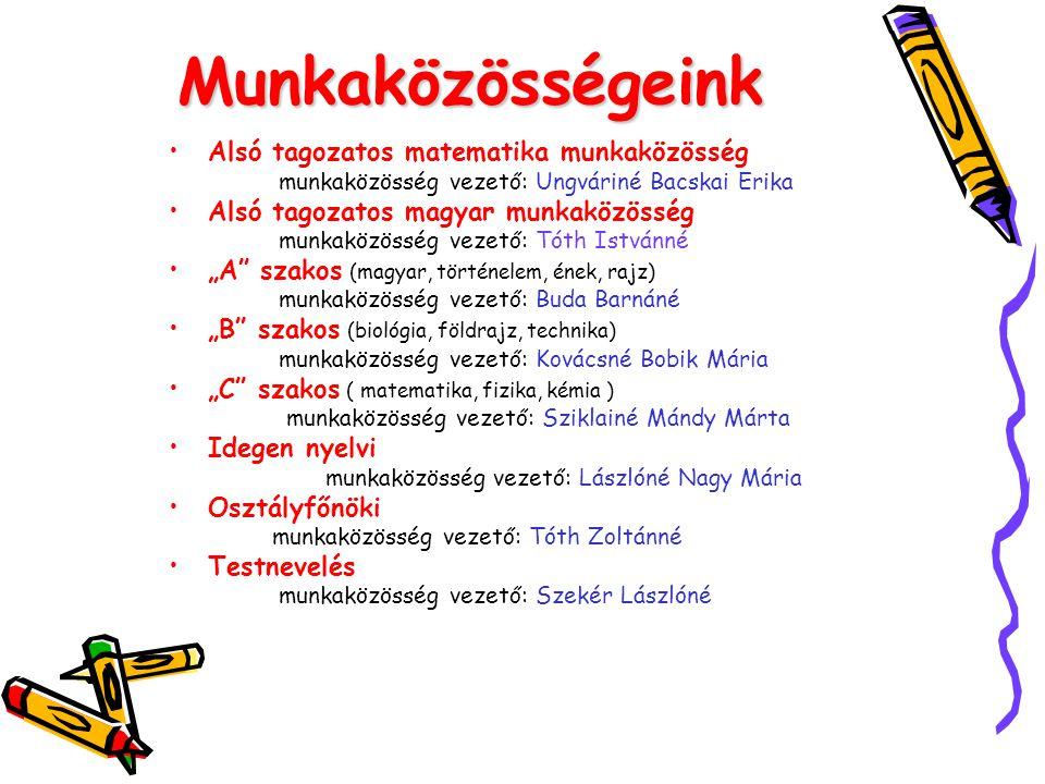 Munkaközösségeink •Alsó tagozatos matematika munkaközösség munkaközösség vezető: Ungváriné Bacskai Erika •Alsó tagozatos magyar munkaközösség munkaköz