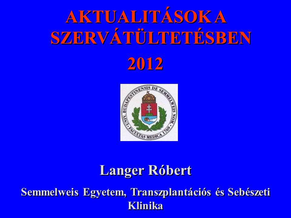 Cadaver, élődonoros és többszervi donorok száma Magyarországon % +15%
