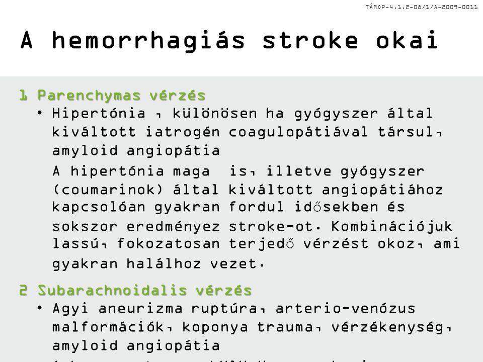 TÁMOP-4.1.2-08/1/A-2009-0011 A hemorrhagiás stroke okai 1Parenchymas vérzés •Hipertónia, különösen ha gyógyszer által kiváltott iatrogén coagulopátiáv
