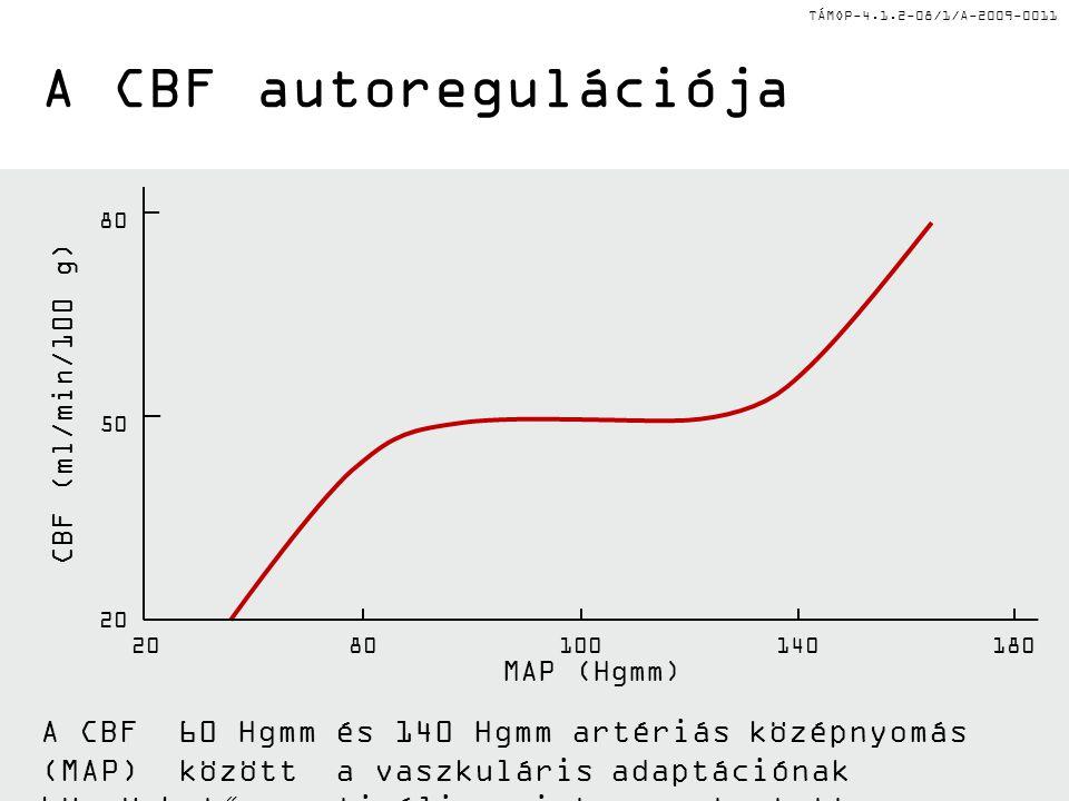 TÁMOP-4.1.2-08/1/A-2009-0011 II Az agyi keringés (CBF) általános jellegzetességei II •A Monroe-Kelly elv: Az agyi kompartment összenyomhatatlan, bármely agyi alkotóelem térfogat-növekedését egy másik volumenének csökkenése kell, hogy kompenzáljon.