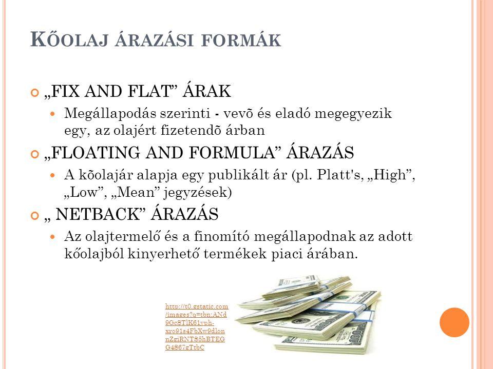 """K ŐOLAJ ÁRAZÁSI FORMÁK """"FIX AND FLAT"""" ÁRAK  Megállapodás szerinti - vevõ és eladó megegyezik egy, az olajért fizetendõ árban """"FLOATING AND FORMULA"""" Á"""