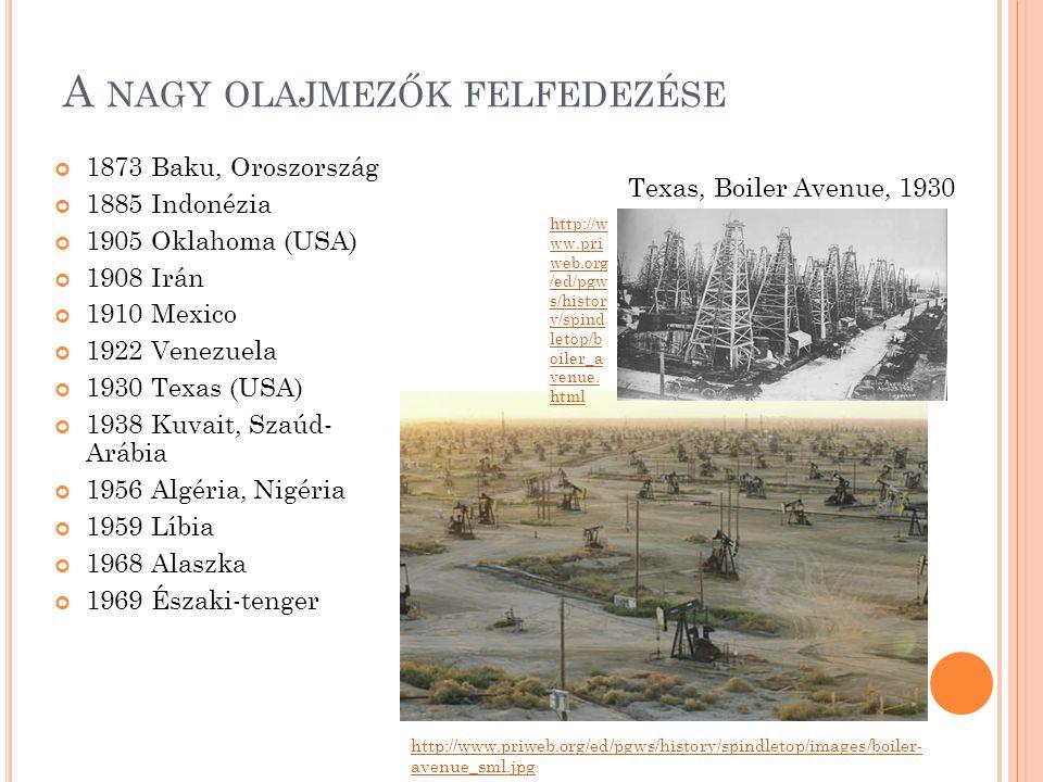 A NAGY OLAJMEZŐK FELFEDEZÉSE 1873 Baku, Oroszország 1885 Indonézia 1905 Oklahoma (USA) 1908 Irán 1910 Mexico 1922 Venezuela 1930 Texas (USA) 1938 Kuva