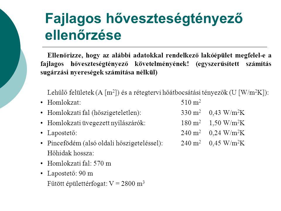 A pallók/gerendák hatásának figyelembe vétele a hővezetési tényező korrekciójával.