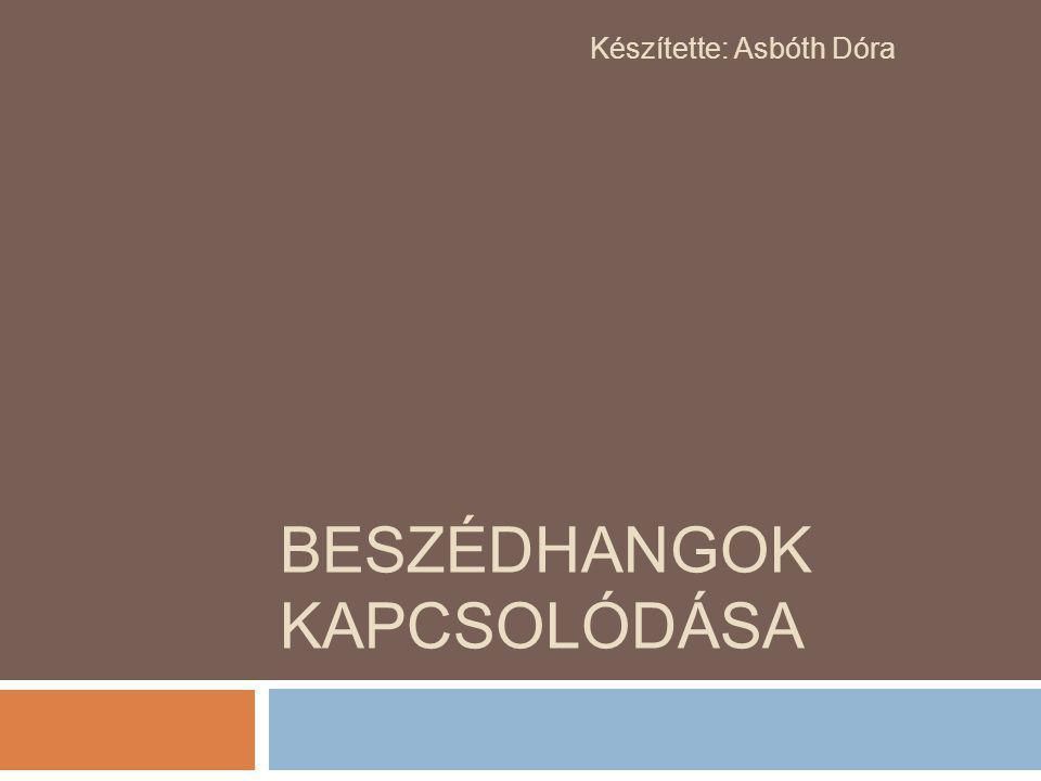 BESZÉDHANGOK KAPCSOLÓDÁSA Készítette: Asbóth Dóra