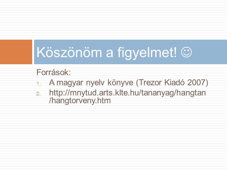Források: 1. A magyar nyelv könyve (Trezor Kiadó 2007) 2. http://mnytud.arts.klte.hu/tananyag/hangtan /hangtorveny.htm Köszönöm a figyelmet! 