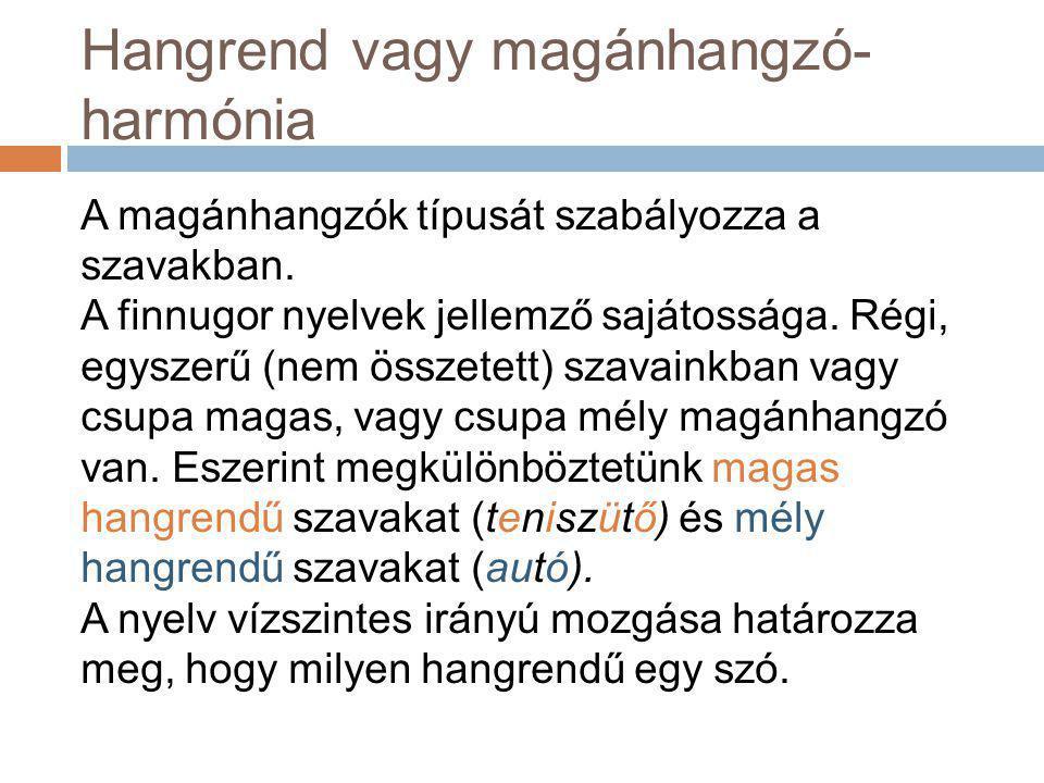Hangrend vagy magánhangzó- harmónia A magánhangzók típusát szabályozza a szavakban. A finnugor nyelvek jellemző sajátossága. Régi, egyszerű (nem össze