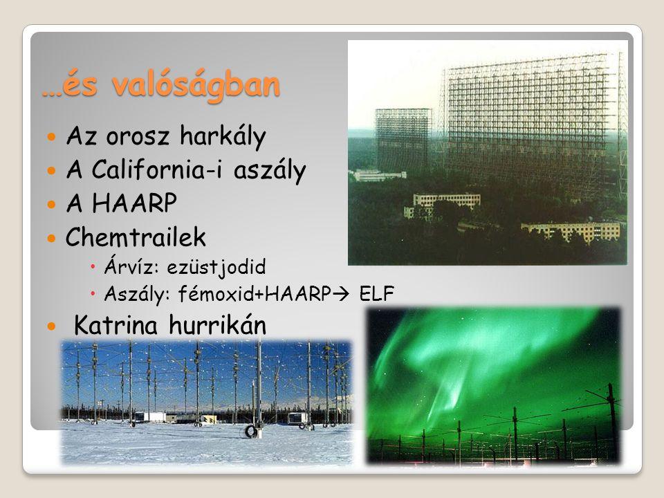 …és valóságban  Az orosz harkály  A California-i aszály  A HAARP  Chemtrailek  Árvíz: ezüstjodid  Aszály: fémoxid+HAARP  ELF  Katrina hurrikán