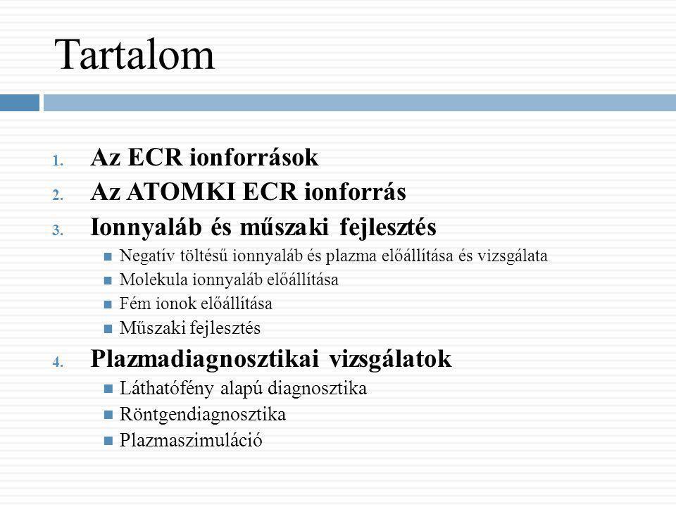 Plazmadiagnosztikai vizsgálatok Láthatófény alapú diagnosztika Mérési összeállítás: ECR plazmafotó szerkezete Változó ECR paraméterek: -Gáznyomás -Mikrohullám teljesítménye -Axiális mágneses tér -Mikrohullám frekvenciája -Gázösszetétel Intenzitás: ADU (8 bit) Spektrális információ: RGB Globális diagnosztika Plazmaszimuláció Az ECR ionforrásokAz Atomki ECR ionforrás Ionnyaláb és műszaki fejlesztés