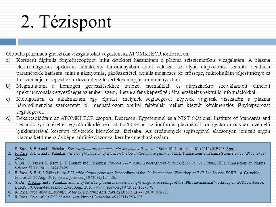 2. Tézispont Globális plazmadiagnosztikai vizsgálatokat végeztem az ATOMKI ECR ionforráson. a)Korszerű digitális fényképezőgépet, mint detektort haszn