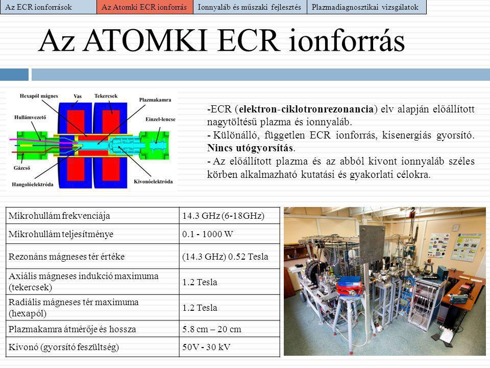 Plazmadiagnosztikai vizsgálatok Láthatófény alapú diagnosztika Mikrohullám teljesítményének hatása: -Teljesítmény növelésének hatására szaturáló intenzitás görbék -Eltérő karakterisztika argon és neon gázkomponensre -Neon plazma semleges (45%) illetve 1+ (55%) -Argon semleges atom (18%), az egyszeresen (81%) és kétszeresen (1%) pozitív ion Globális diagnosztika Plazmaszimuláció Az ECR ionforrásokAz Atomki ECR ionforrás Ionnyaláb és műszaki fejlesztés