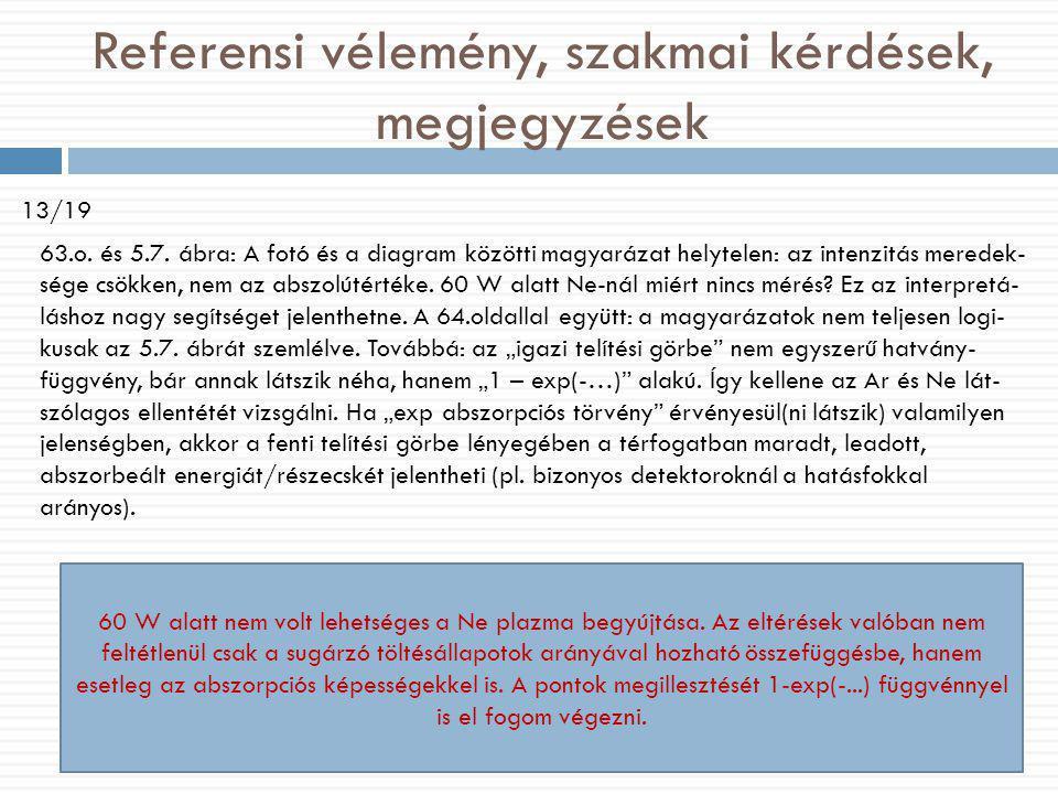 Referensi vélemény, szakmai kérdések, megjegyzések 13/19 63.o. és 5.7. ábra: A fotó és a diagram közötti magyarázat helytelen: az intenzitás meredek