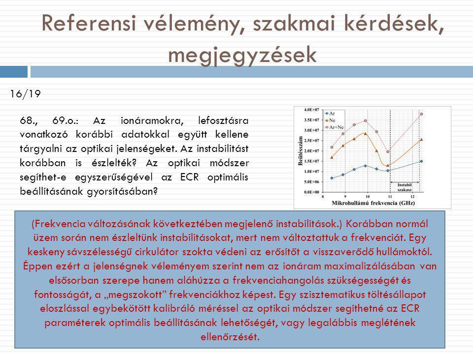 Referensi vélemény, szakmai kérdések, megjegyzések 16/19 68., 69.o.: Az ionáramokra, lefosztásra vonatkozó korábbi adatokkal együtt kellene tárgyaln
