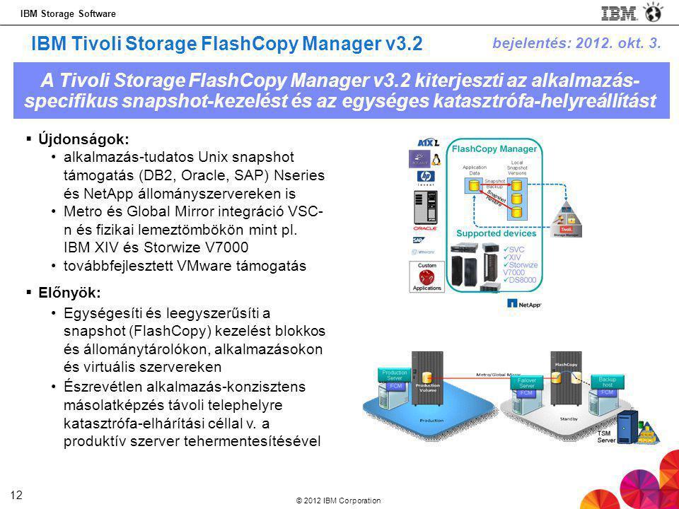 IBM Storage Software © 2012 IBM Corporation 12 IBM Tivoli Storage FlashCopy Manager v3.2  Újdonságok: •alkalmazás-tudatos Unix snapshot támogatás (DB2, Oracle, SAP) Nseries és NetApp állományszervereken is •Metro és Global Mirror integráció VSC- n és fizikai lemeztömbökön mint pl.