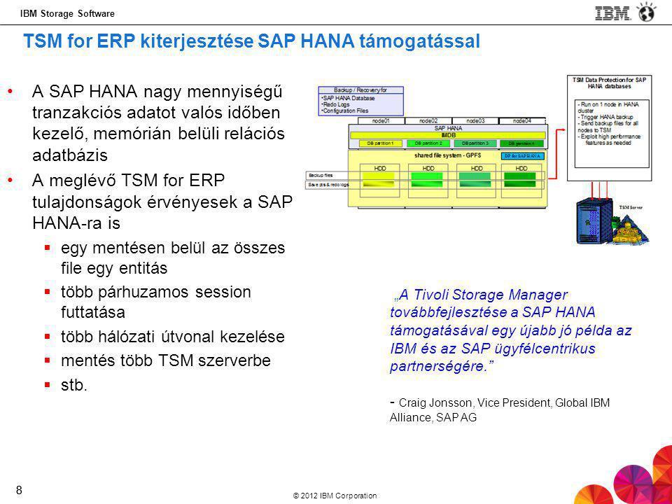 IBM Storage Software © 2012 IBM Corporation 88 •A SAP HANA nagy mennyiségű tranzakciós adatot valós időben kezelő, memórián belüli relációs adatbázis •A meglévő TSM for ERP tulajdonságok érvényesek a SAP HANA-ra is  egy mentésen belül az összes file egy entitás  több párhuzamos session futtatása  több hálózati útvonal kezelése  mentés több TSM szerverbe  stb.
