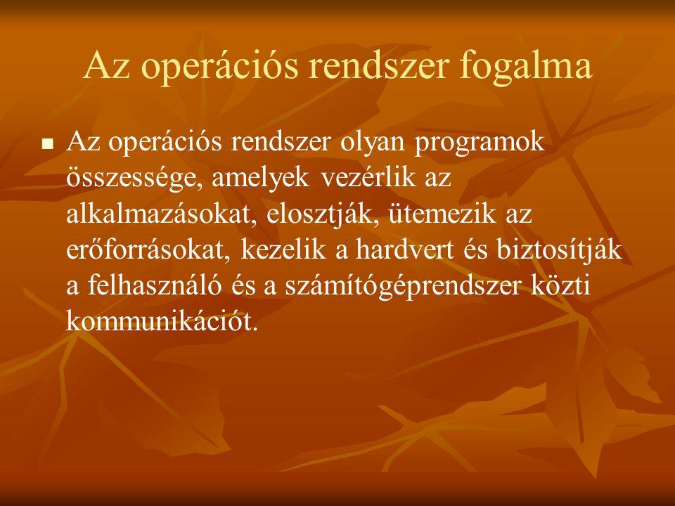 Az operációs rendszer fogalma   Az operációs rendszer olyan programok összessége, amelyek vezérlik az alkalmazásokat, elosztják, ütemezik az erőforr