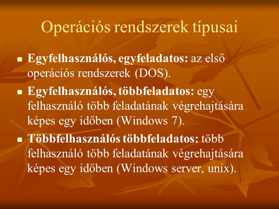 Operációs rendszerek típusai   Egyfelhasználós, egyfeladatos: az első operációs rendszerek (DOS).   Egyfelhasználós, többfeladatos: egy felhasznál