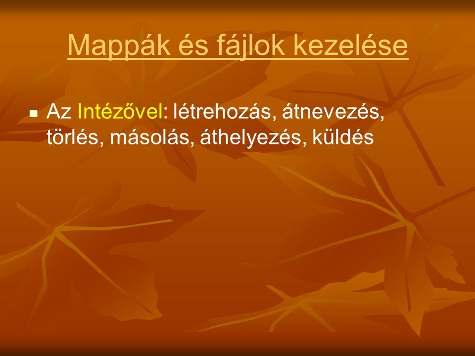 Mappák és fájlok kezelése   Az Intézővel: létrehozás, átnevezés, törlés, másolás, áthelyezés, küldés