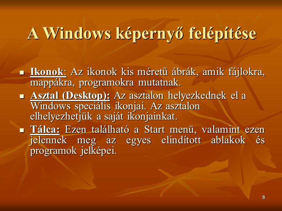 8 A Windows képernyő felépítése  Ikonok: Az ikonok kis méretű ábrák, amik fájlokra, mappákra, programokra mutatnak.  Ikonok: Az ikonok kis méretű áb
