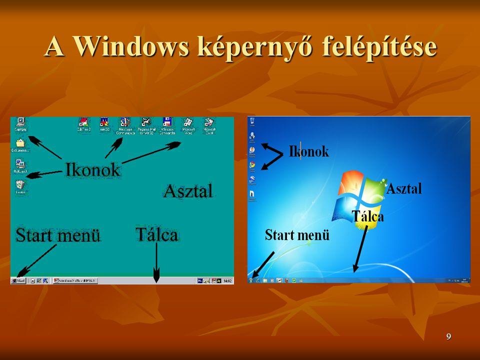 9 A Windows képernyő felépítése
