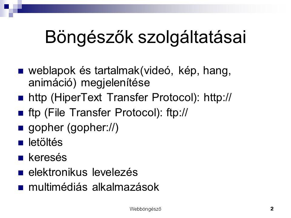 Webböngésző2 Böngészők szolgáltatásai  weblapok és tartalmak(videó, kép, hang, animáció) megjelenítése  http (HiperText Transfer Protocol): http://