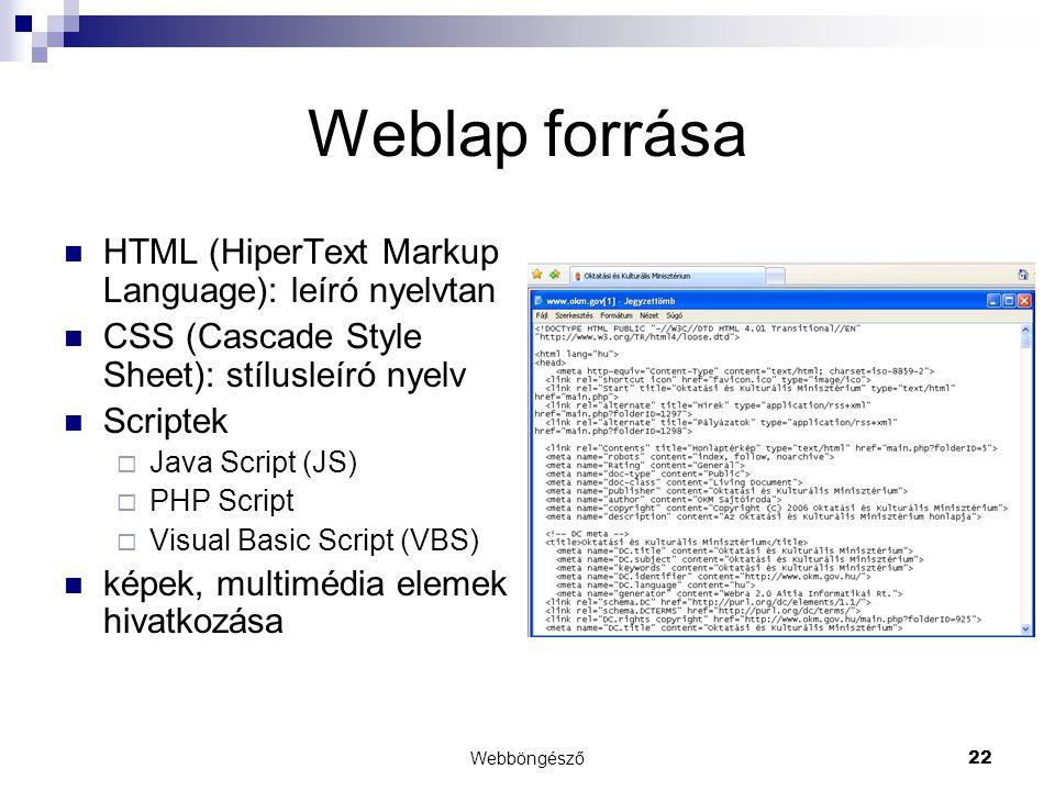 Webböngésző22 Weblap forrása  HTML (HiperText Markup Language): leíró nyelvtan  CSS (Cascade Style Sheet): stílusleíró nyelv  Scriptek  Java Scrip