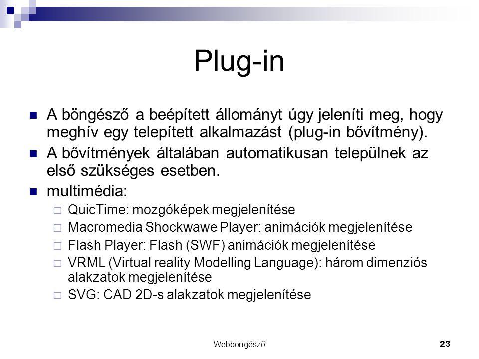 Webböngésző23 Plug-in  A böngésző a beépített állományt úgy jeleníti meg, hogy meghív egy telepített alkalmazást (plug-in bővítmény).  A bővítmények