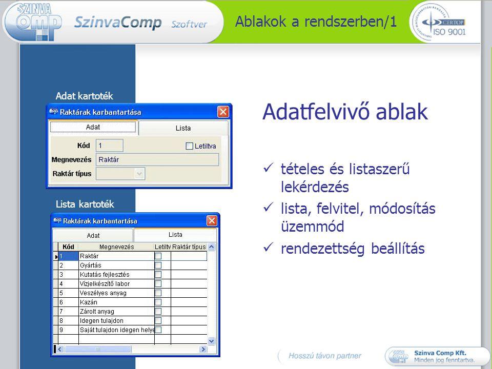 Ablakok a rendszerben/2 Tallózó-ablak Érték kiválasztás támogatása a Törzs adattárak alapján
