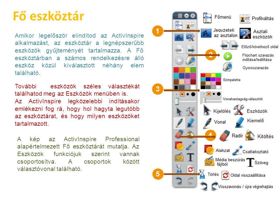 Fő eszköztár Amikor legelőször elindítod az ActivInspire alkalmazást, az eszköztár a legnépszerűbb eszközök gyűjteményét tartalmazza. A Fő eszköztárba