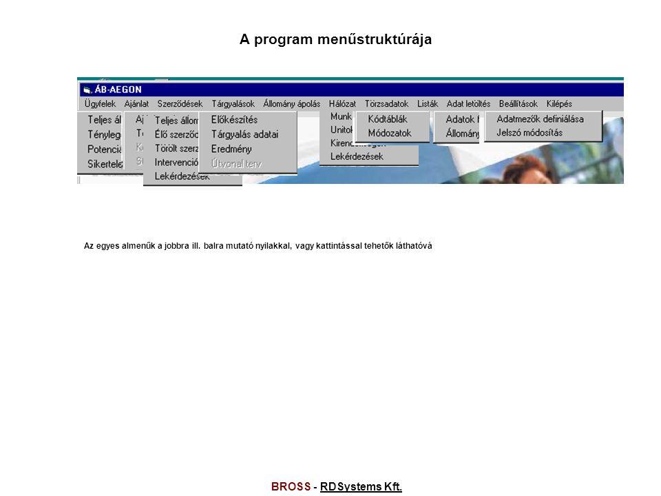 BROSS - RDSystems Kft.RDSystems Kft.A program menűstruktúrája Az egyes almenűk a jobbra ill.