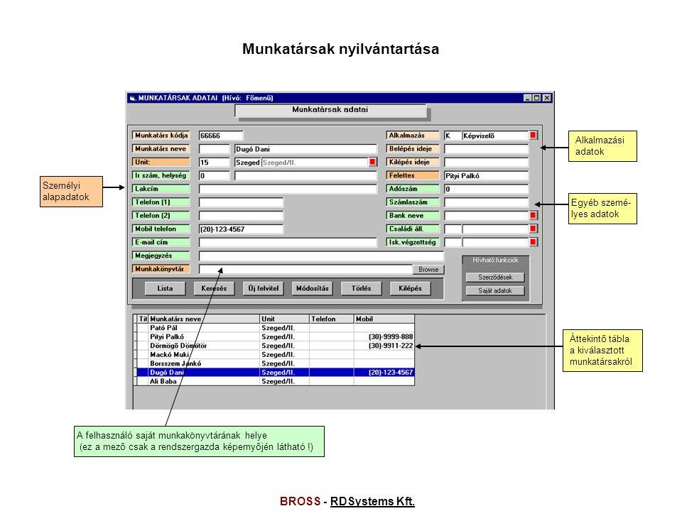 BROSS - RDSystems Kft.RDSystems Kft.Jutalékok előírása 2004.5.5.