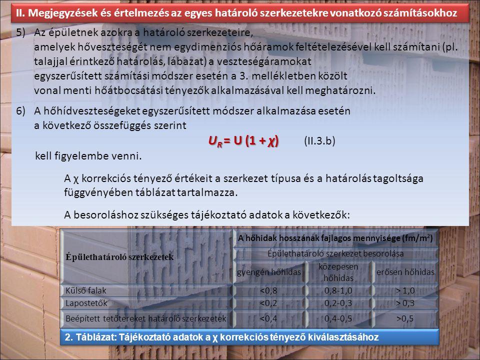 5)Az épületnek azokra a határoló szerkezeteire, amelyek hőveszteségét nem egydimenziós hőáramok feltételezésével kell számítani (pl. talajjal érintkez