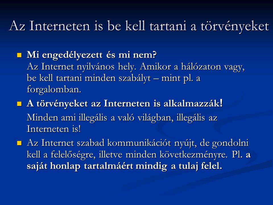 Az Interneten is be kell tartani a törvényeket  Mi engedélyezett és mi nem? Az Internet nyilvános hely. Amikor a hálózaton vagy, be kell tartani mind