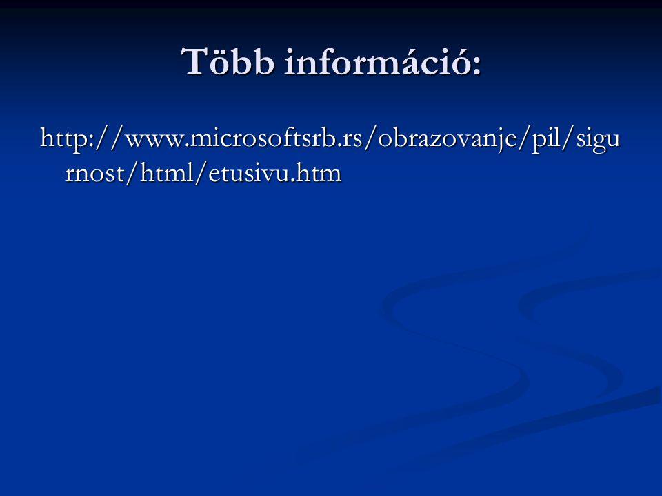 Több információ: http://www.microsoftsrb.rs/obrazovanje/pil/sigu rnost/html/etusivu.htm